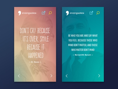 Everquotes Mobile typography quote author wallpaper webdesign responsive website mobile css3 html5 ui ux