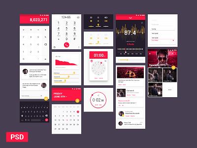 Material Design UI Kit Freebie radio calendar mobile material design freebie material components kit ui psd android design