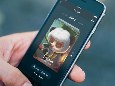 League of Legends App Concept mobile game league cards iphone ios app concept ui psd freebie