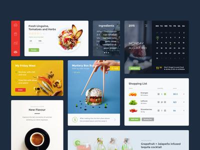 Food & Drink UI Kit (PSD + Sketch) sketch freebie psd bootstrap template shopping calendar food kit ui design webdesign