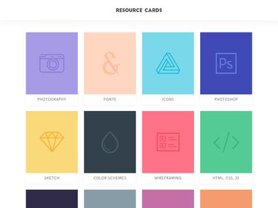 Resource Cards grid unsplash freebie photography bootstrap resources sketch photoshop pantone color scheme palette cards