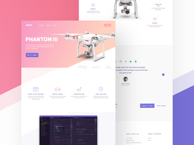 Drone Landing Page landing page website design homepage bootstrap creative ui quadcopter responsive drone sketch photoshop