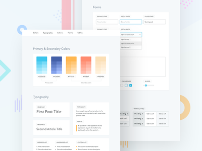 Simple UI Style Guide pattern library guide form typography colors visualization ux ui sketch interface infographics style guide