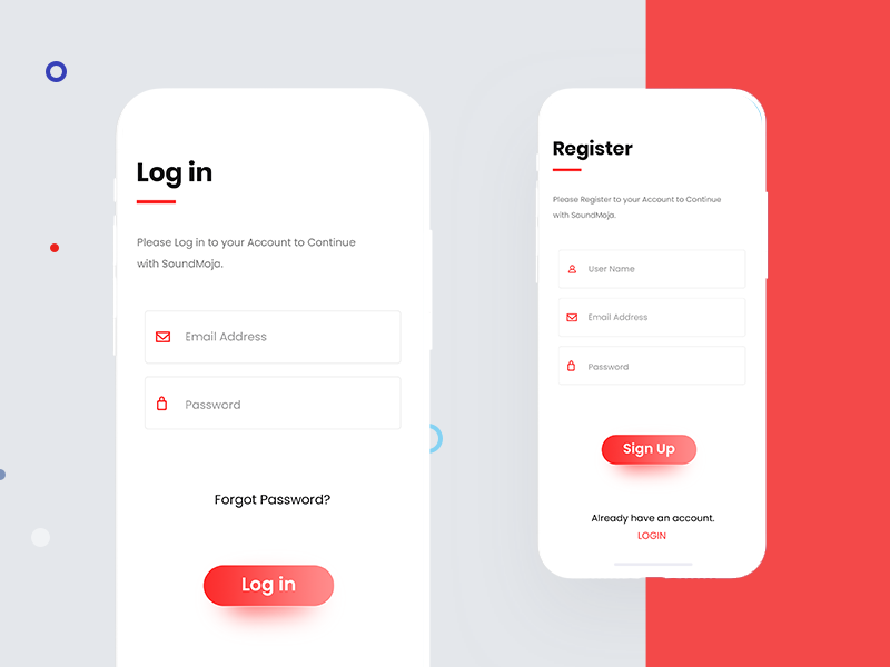Login sign up register social mockup clean minimal user interface user experience ux ui sign up login ios app