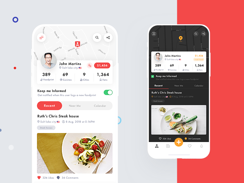 Food app home page feed profile food app social user experience user interface