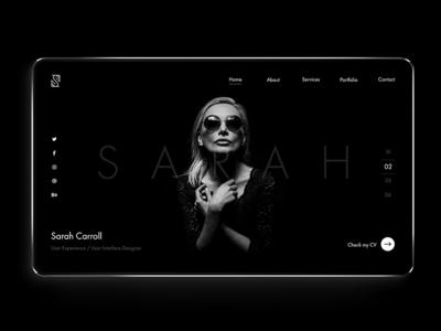 Personal portfolio site. layout ux ui clean website web design web dark minimal portfolio typography