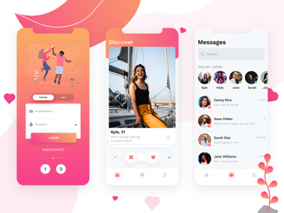 Dating App list cards home login like online chat social mockup messages photoshop illustration dating app mobile user experience user interface ux ui ios app