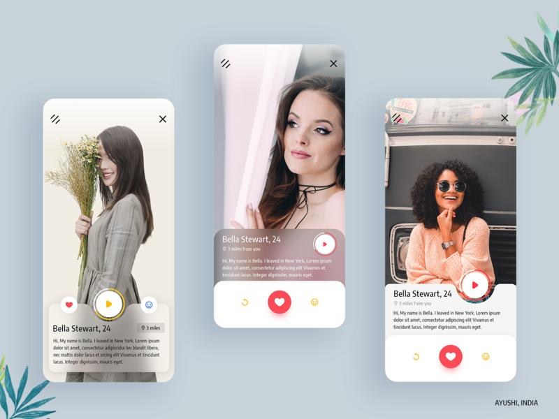 Dating Profile Variation dislike like video ui ux clean minimal app ui design social profile dating app app ui