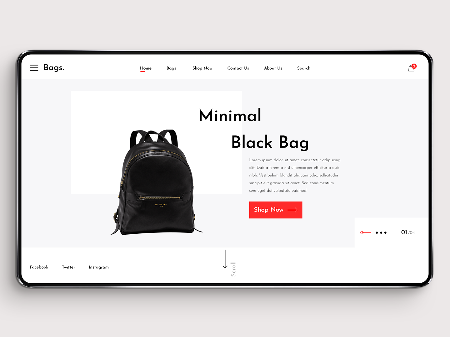 Minimal Bag Landing page design typography cards scroll social clean website web user experience user interface slider ecommerce shopping black bag hero header landing page bag ux ui minimal