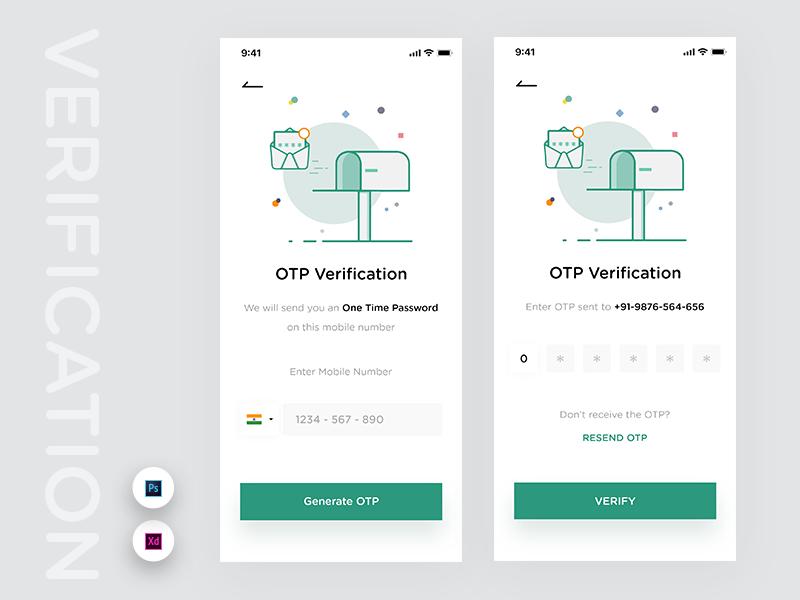 Phone Number Verification clean design illustration minimal mockup verify app design