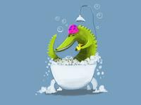Crocodile bath time