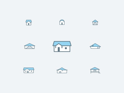 Icons accommodation clean line accommodation icon home mobilhome house icons