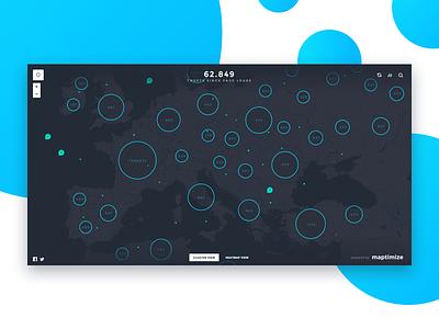One million tweet map  data cluster engine tweet google map blue ux ui