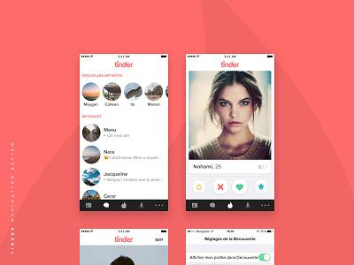 Tinder - Navigation Redesign  red medium article app tinder ui ux redesign