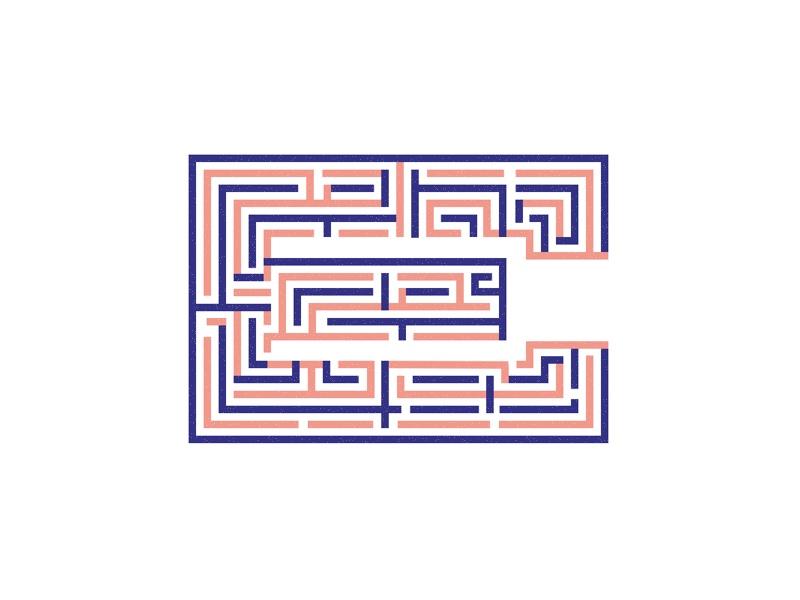Duotone E maze  challenge rebound illustration typehue logo e type duotone duo maze