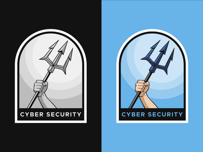 Cyber Security Badge weapon neptune poseidon team fork sketch illustration vector branding sea protector grayscale trident logo security cyber security cybersecurity sticker patch badge