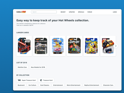 Redesign - Collect Hot Wheels hot wheels diecast experiment website web redesign