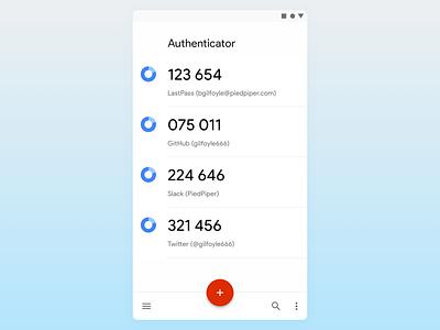 Redesign - Google Authenticator ux ui google product sans sketch redesign authenticator 2fa android ui android app android material design material