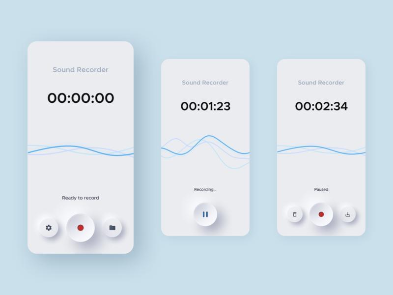 Neumorphic Sound Recorder App