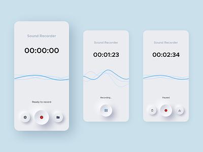 Neumorphic Sound Recorder App button flat neumorph shadow minimal pause record recorder sound app soft ui soft neumorphism neumorphic sketch design ux ui