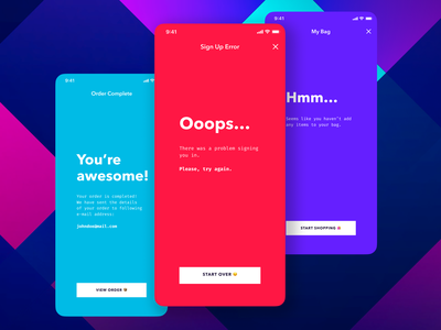 Message Screens for Vakkorama iOS App figma confirmation empty error vector design principle app mobile ux ui apple iphone sketch