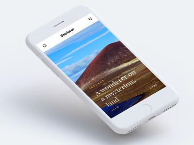 Explorer - Travel Blog Design travel nature ux ui mobile iphone blog apple