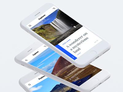 Explorer - Travel Blog Design ux ui travel nature mobile iphone blog apple