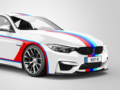BMW M4 Sportscar Wrap Mockup