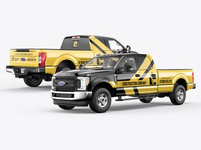 5-in-1 Ford F250 Pickup Truck Mockup Pack