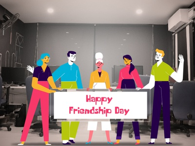 Friendship Day 2020 02 girls boys pictures flat web vector 2020 august colorful modern friendship motiongraphics design illustraion friends picture