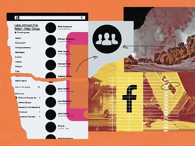 227 hurricanes fires climate change facebook groups socialmedia facebook editorial illustration collage illustration