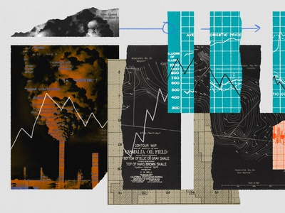 232 maps graphs vintage torn paper economy climate change energy fossil fuels editorial editorial illustration collage illustration