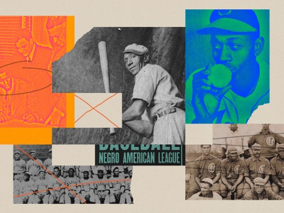 248 segregation racism black history baseball print lo-fi editorial illustration collage illustration