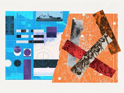 249 military war print editorial illustration collage illustration