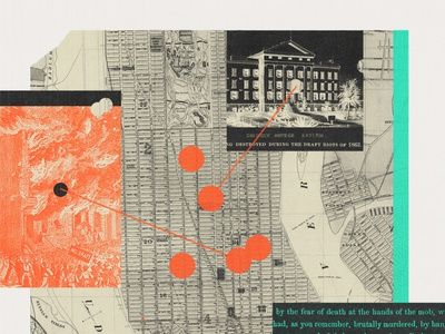 263 history map manhattan new york sunday review nytimes print lo-fi collage editorial illustration illustration