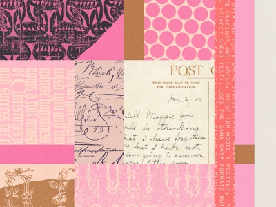 264 lo-fi vintage print pink februllage collage
