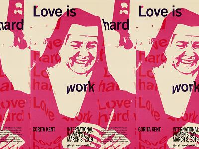 Corita Kent distortion lettering international womens day duotone hand lettering typography type 60s humanist modernism poster design poster corita kent