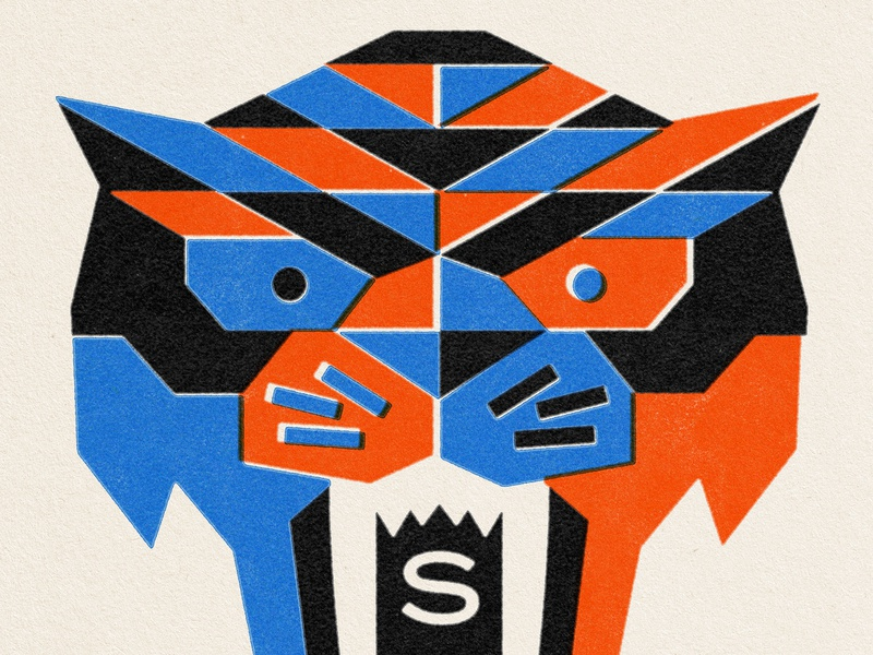 saber-toothed cat feline black blue orange lo-fi misregistration grain print cat illustration identity branding identity logo animal cat tiger