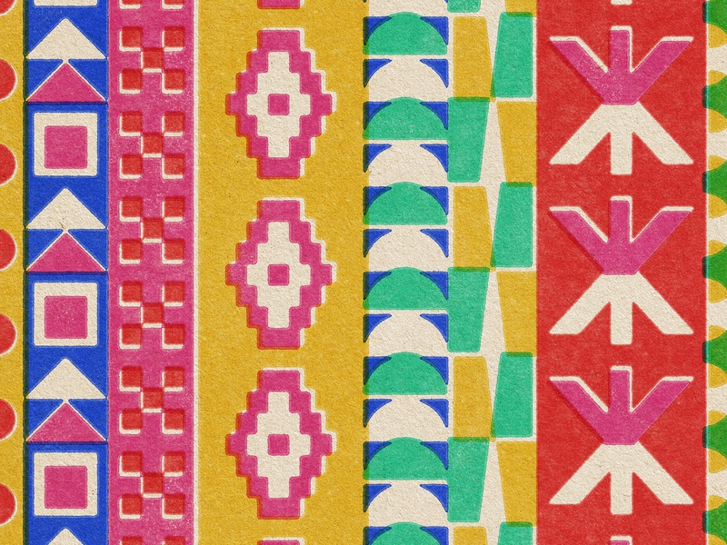 just a little light illustration vintage lo-fi print misregistration blue pink red yellow green circle square triangle geometry fabric pattern