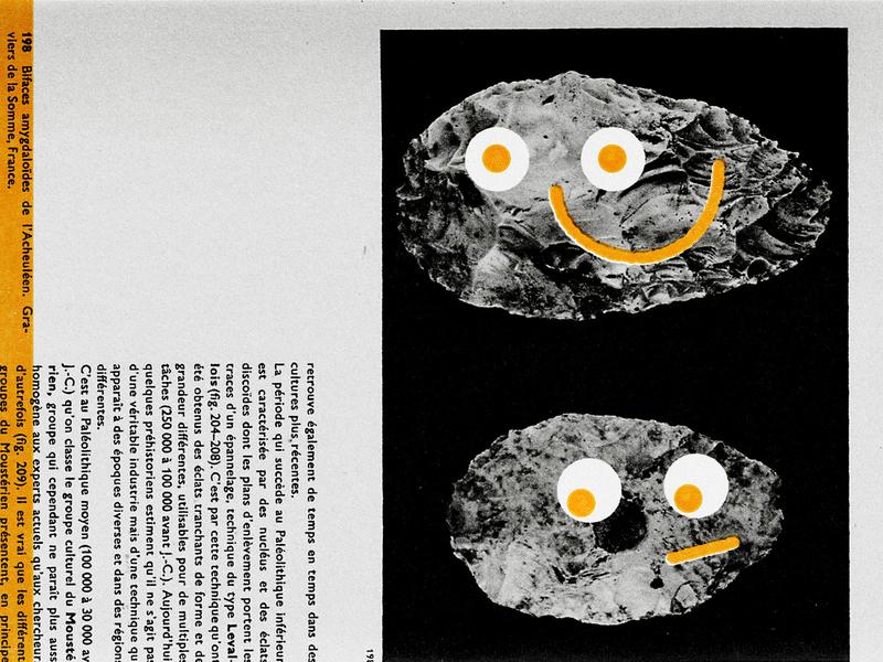 rocks with eyes textbook encyclopedia googly eyes smile eyes yellow print photo illustration photo collage found image collage illustration