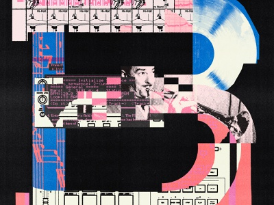 B is for boom bap beats mpc boom bap music hip hop blue pink print type typography illustration collage lettering letter 36 days of type