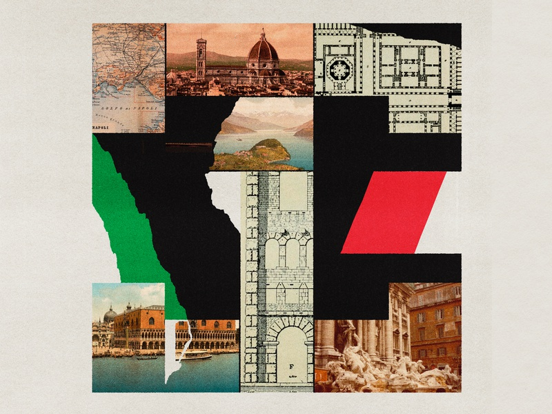 I is for Italy found vintage cutout print lo-fi texture distortion collage type typography illustration