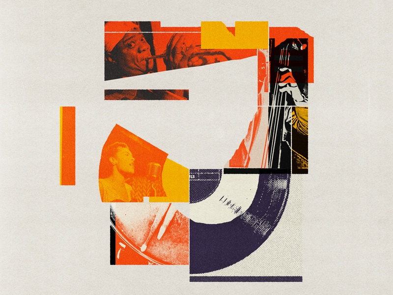 J is for Jazz found image jazz music red vintage lo-fi print editorial illustration collage type typography illustration