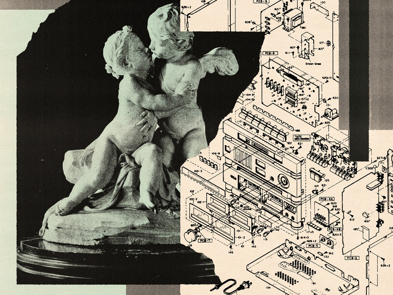 Found Images Composition 8 old vintage monochrome torn paper juxtaposition technical drawing sculpture angels found image found collage illustration