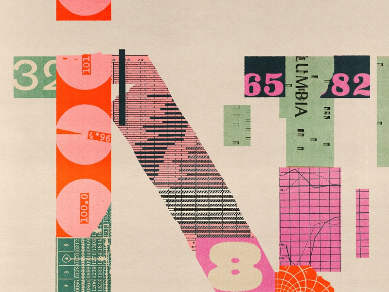 N is for Numbers distortion lo-fi vintage print editorial illustration lettering collage type typography illustration