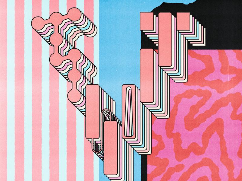 V is for Vertical red pink blue poster distortion lo-fi vintage print lettering type typography illustration