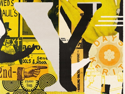 Y i s for Yellow yellow poster vintage lo-fi print lettering type editorial illustration collage typography illustration