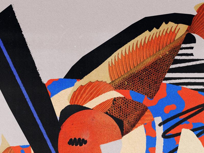 screenshot 2019.06.18 layers torn cutout black blue orange fish vintage print lo-fi collage illustration