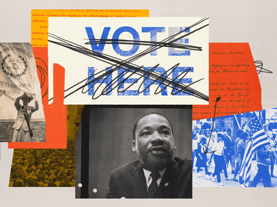 182 grassroots movements march susan b. anthony martin luther king mlk civil rights voting rights election politics collage editorial illustration illustration