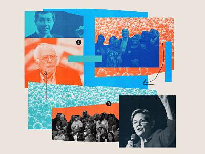 183 elizabeth warren bernie sanders trump presidential election democrat election politics collage editorial illustration illustration